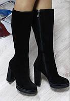 Сапоги демисезонные замшевые на высоком каблуке черные