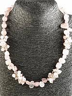 Бусы из камня розовый кварц