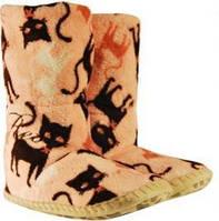 Розовые женские тапочки - сапожки с кошкой на мягкой подошве, для ламината и паркета