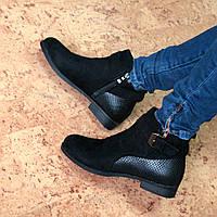 Ботинки женские демисезонные Grahi черный замш, осенняя обувь