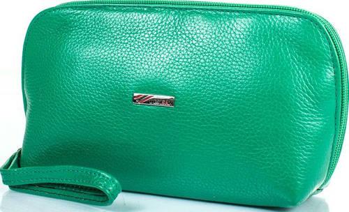Стильная женская косметичка из натуральной кожи DESISAN SHI064-4FL зеленый