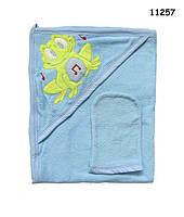 """Махровое полотенце-уголок """"Лягушонок"""" с варежкой для купания. 65х85 см"""