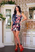 """Красивое молодежное платье мини """"Ассиметрия,цветочный принт"""""""
