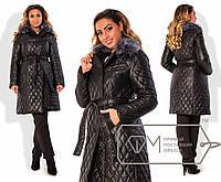 Стильное стёганная удлинённая курточка для пышных модниц (стёганная плащёвка, воротник мех) РАЗНЫЕ ЦВЕТА!