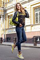 Яркий выразительный женский свитшот (тандем трикотажа и кожи, цветной принт) РАЗНЫЕ ЦВЕТА!