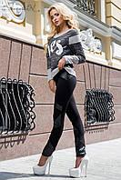 Модные узкие трикотажные женские брюки (леггинсы, экокожа, чёрные)