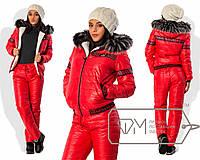 Стильный тёплый женский костюм (стёганные брюки и курточка, овчина, капюшон, мех) РАЗНЫЕ ЦВЕТА!