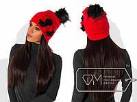 """Стильная женская шапка """"Ангора"""" (красивый бубон, декор двухцветные цветы) РАЗНЫЕ ЦВЕТА!"""