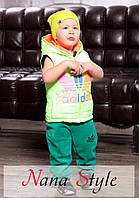 Жилетка Детская с капюшоном салатовая с рисунком Adidas(девочка+мальчик)