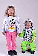 Жилетка Детская с капюшоном белая с рисунком и капюшоном(девочка+мальчик)