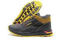 Кроссовки мужские Adidas 393 зимние черные с рыжим (адидас)