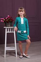 Яркое трикотажное платье для девочек бирюзового цвета