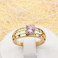 002-1822 - Позолоченное кольцо с розовым фианитом, 16.5, 17, 18, 19 р.
