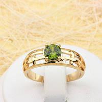 002-1823 - Позолоченное кольцо с оливково-зелёным фианитом, 16, 16.5, 17, 18, 19.5 р.