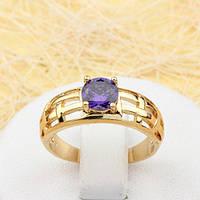 002-1825 - Позолоченное кольцо с фиолетовым фианитом, 17 р.