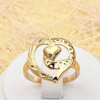 002-1834 - Позолоченное кольцо Сердце, 17.5, 18.5, 19 р.