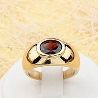 002-1836 - Кольцо с бордовым фианитом позолота, 17, 18, 18.5 р.