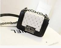Женская сумка клатч Chanel black-white  плетенная