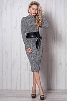 Женское платье ниже колен из трикотажа косички