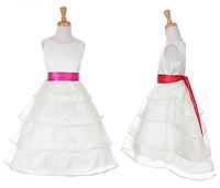 Длинное выпускное белое платье с хвостом и поясом на выбор 3-15 лет (4 цвета)