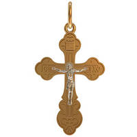 Классический золотой крест 585* пробы с распятием из белого золота