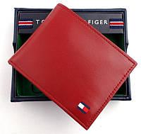 Красный кожаный кошелек Tommy Hilfiger Оригинал в фирменной упаковке кожаное портмоне Томми Хилфигер