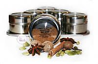 Набор пряностей для кофе в металлических емкостях на подставке, 6 шт. по 25 грамм