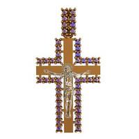 Золотой крестик 585* пробы в обрамлении из мелких камней