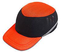 Каска-бейсболка ударопрочная оранжево-черная со светоотражающей лентой VITA