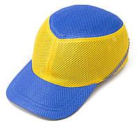 Каска-бейсболка ударопрочная сине-желтая со светоотражающей лентой VITA