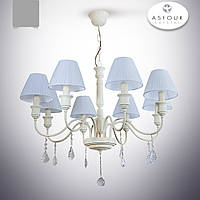 Люстра 8-ми ламповая с хрусталем и абажурами
