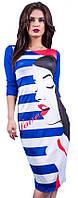 Платье женское с принтом девушки полоска, фото 1