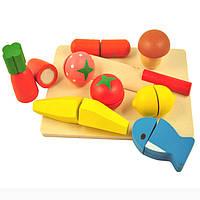Овощи и фрукты, продукты на липучках с ножом, деревянная игрушка