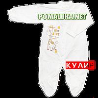 Человечек для новорожденного р. 68 тонкий ткань КУЛИР 100% хлопок ТМ Алекс 3045 Бежевый1