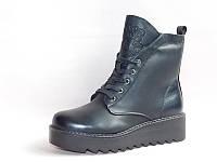 Женские ботинки зимние на шнуровке,PUкожа,высокое качество