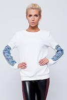 Белый женский свитшот с украинским орнаментом