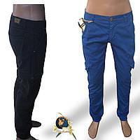Джинсы мужские синего цвета с боковыми карманами на резинке внизу