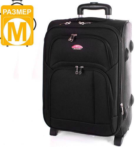 Чемодан средний тканевый на 2-х колесах Suitcase (Сьюткейс) АPT001M-2 (Чёрный)