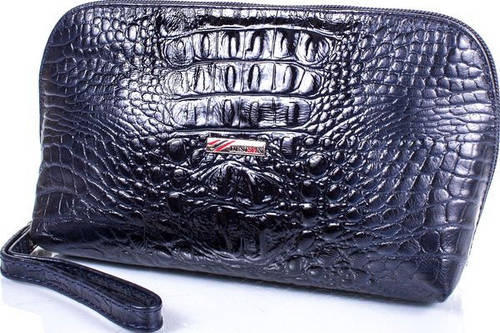 Прекрасная женская кожаная косметичка под кожу крокодила DESISAN SHI064-582 синий