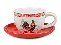 Кружка керамическая с блюдцем Петух красное блюдце 250 мл Новогодняя коллекция 358-705