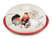 Блюдо для торта керамическое с крышкой Петух красное 23 см 358-706
