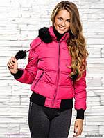 Короткая куртка с мехом и бубонами с довязом на рукавах и по низу