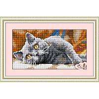 Рисование камнями квадратными камнями «Дымчатый кот» Dream Art 30055 Алмазная техника (на холсте)