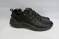 Мужские демисезонные кожаные ботинки ECCO (8375) черные на серой подошве 3007А