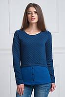 Женская кофта теплая синяя серая