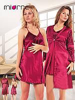 Комплект: сорочка и пеньюар Miorre в цвете бордо