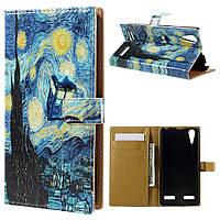 Чехол книжка для Lenovo A6000 боковой с отсеком для визиток, Рисунок масляными красками