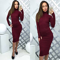 Зимнее платье женское Полли бордо , магазин платье