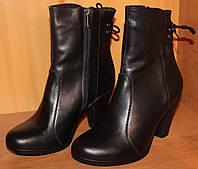 Женские ботинки зимние на каблучке кожаные, зимние ботинки женские из натуральной кожи