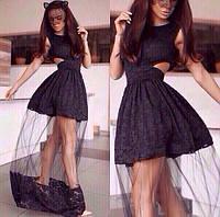 Модное платье в пол из гипюра и евросетки